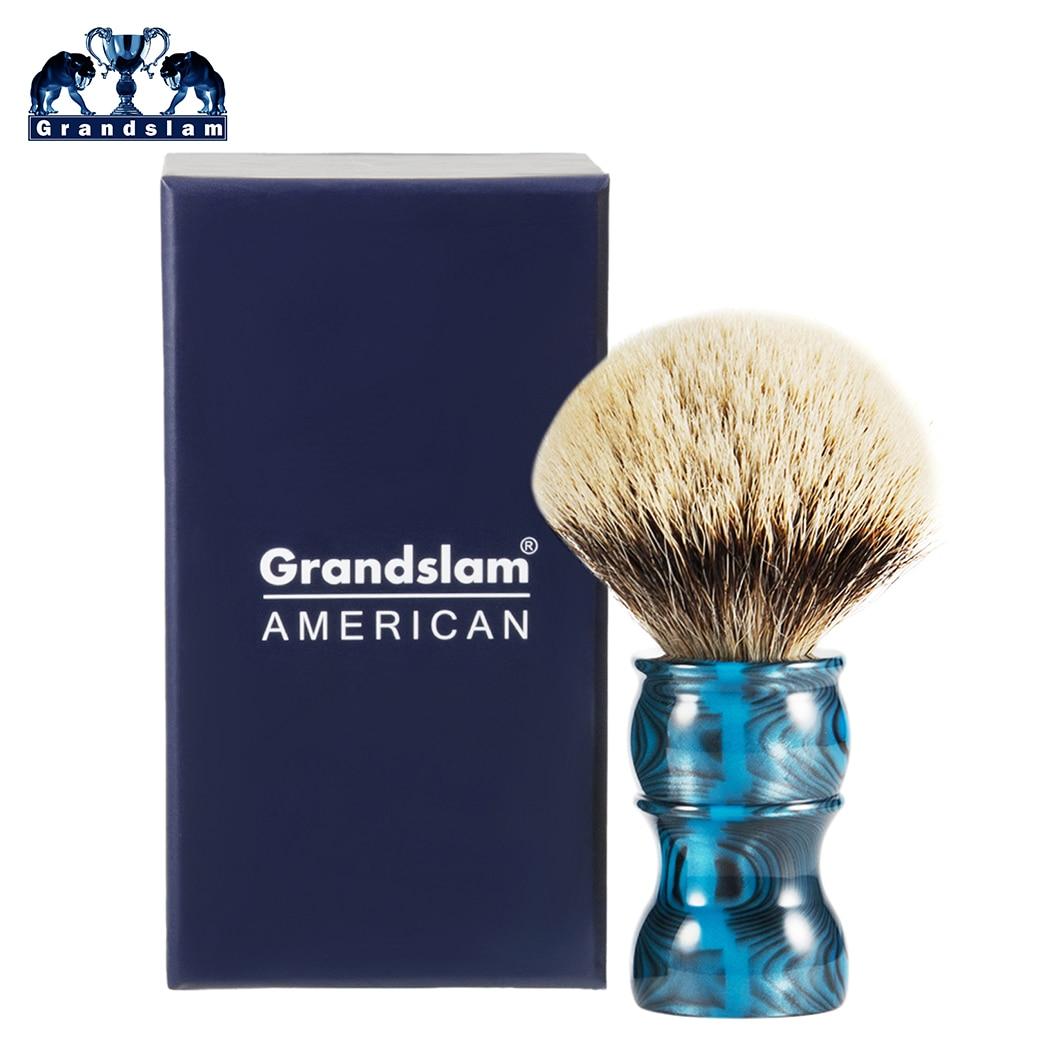 Grandslam Men's Silver Tip Shaving Razor Blade Brush 24mm Silvertip Badger Hair Galaxy Resin Handle Brushes For Most Bowl Soap