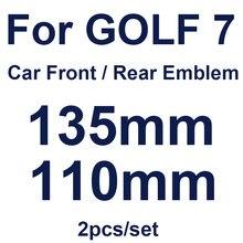 Estilo do carro frente capô grelhas emblema 135mm 110mm traseiro tronco emblema cobre brilhante preto/fibra de carbono/laranja 2 pçs para golf mk7