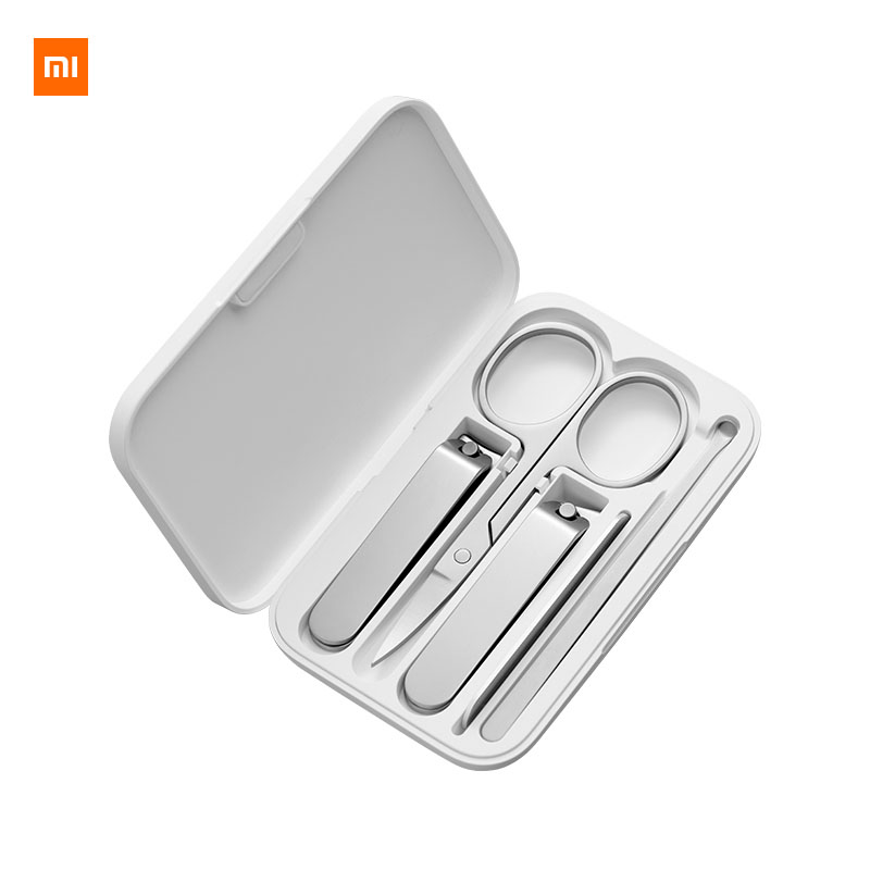 5pcs Xiaomi Mijia Manicure Nail Clippers Nose Hair Trimmer Portable Travel Hygiene Kit Stainless Steel Nail Cutter Tool Set