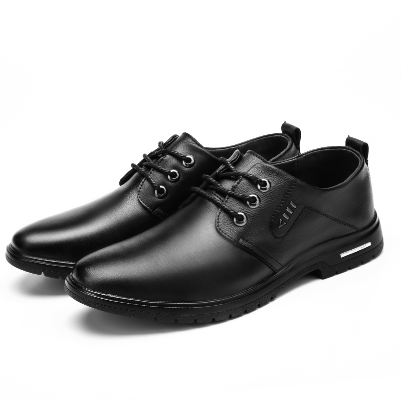 2019 Newest Hot Leather Shoes Men Flats Fashion Men's Casual Shoes Brand Man Soft Comfortable Lace Up Black Leather Casual Shoes