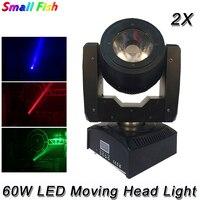 Mejor 2XLot 60W RGBW 4IN1 Led foco con cabezal móvil pantalla LED de buena calidad de alta luminosidad 60W haz + lavado de luz con cabezal móvil