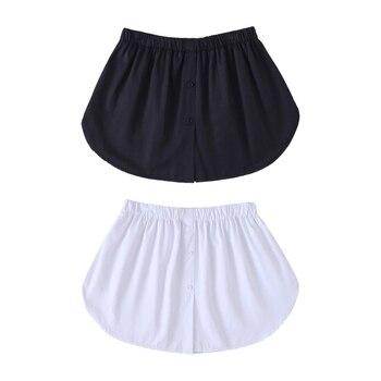 elastic waist scallop hem textured skirt Korean Women Decorative Skirt Solid Color A-Line Flare False Fake Hem Button Down Solid Color Elastic Waist Layered Detachable A