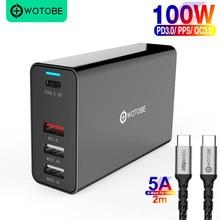 100 Вт 4 порта адаптер питания PD100W/65W/45W/18W QC4.0/PPS зарядное устройство 5A для TYPE C Thunderbolt 3 ноутбука iphone11/SE S10/S20/Note 10/9