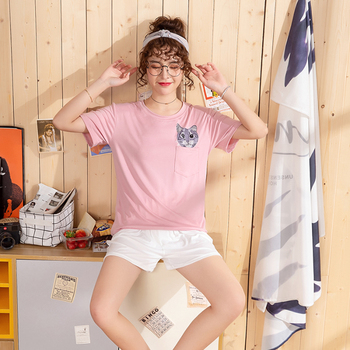 Hot sale Summer Shorts Pajama Sets for Women Short Sleeve Sleepwear Cute Girls Cartoon Pyjama Homewear Pijama Mujer Home Clothes 15