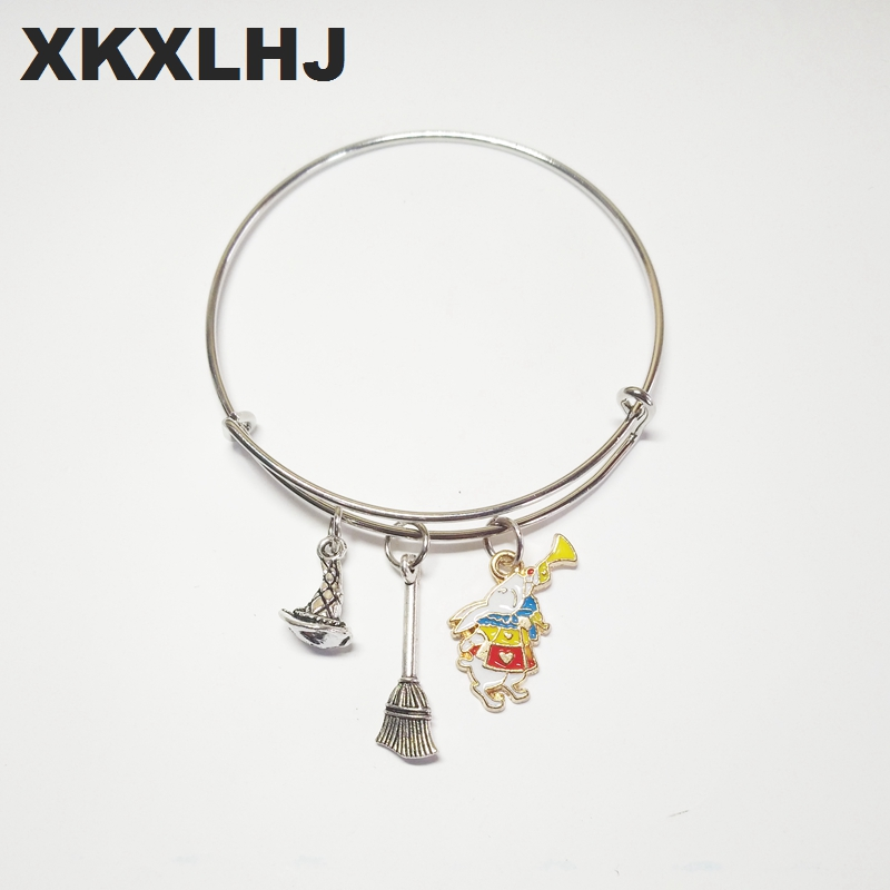 XKXLHJ 1PCS New Santa Fashion Jewelry Witch Hat and Broom Bracelet Silver Witch Hat and Broom Glamour Silver in Charm Bracelets from Jewelry Accessories