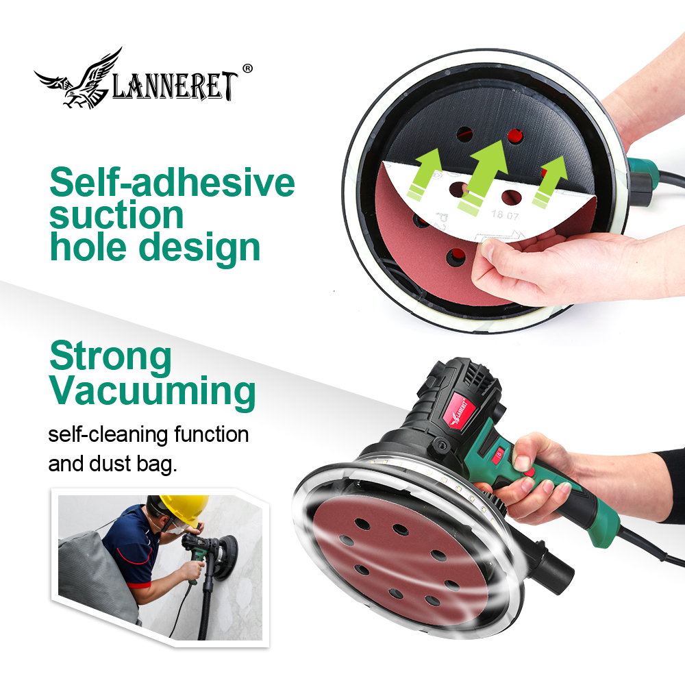 Image 5 - LANNERET Wall Polisher Drywall Sander Handheld Variable Speed Dry Wall Sander LED Strip Light Dust Free  850W / 1280W-in Sanders from Tools on