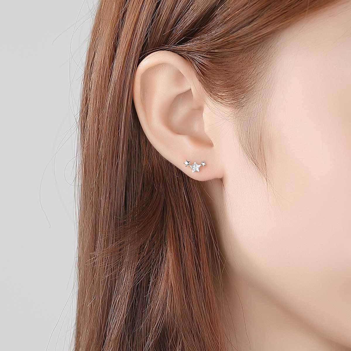PAG & MAG nouveau 925 boucles d'oreilles en argent Sterling étoile Zircon boucles d'oreilles femme mode simple petit pentagramme femme bijoux - 2