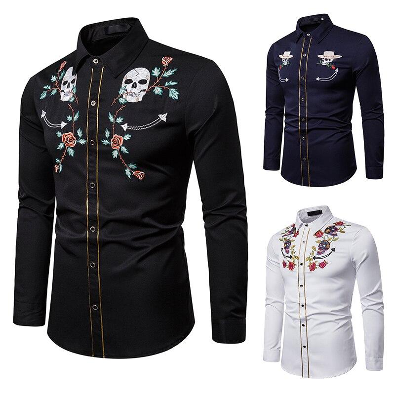 Brand Men Shirt High Grade Skull Embroidery Dress Shirt Slim Fit Casual Long Sleeve Western Cowboy Shirt EU Size XXL Camisas