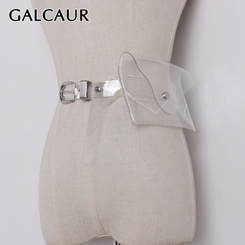 GALCAUR Perspective PU Leather Woman's Belt Tunic Bag Female Belts Adjustable Summer Spring Fashion Clothing Accessories 2020