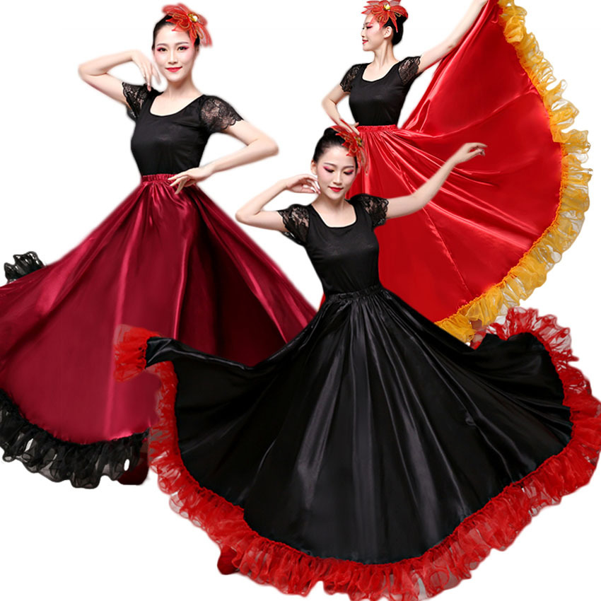 Fashion Gorgeous Female Plus Size Belly Dance Skirt Spanish Flamenco Dress Stage Team Wear Lace Satin Solid Smooth Skirt