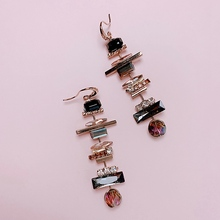 MENGJIQIAO New Elegant Geometric Crystal Long Drop Earrings For Women Students Fashion Pendientes Party Jewelry Gifts