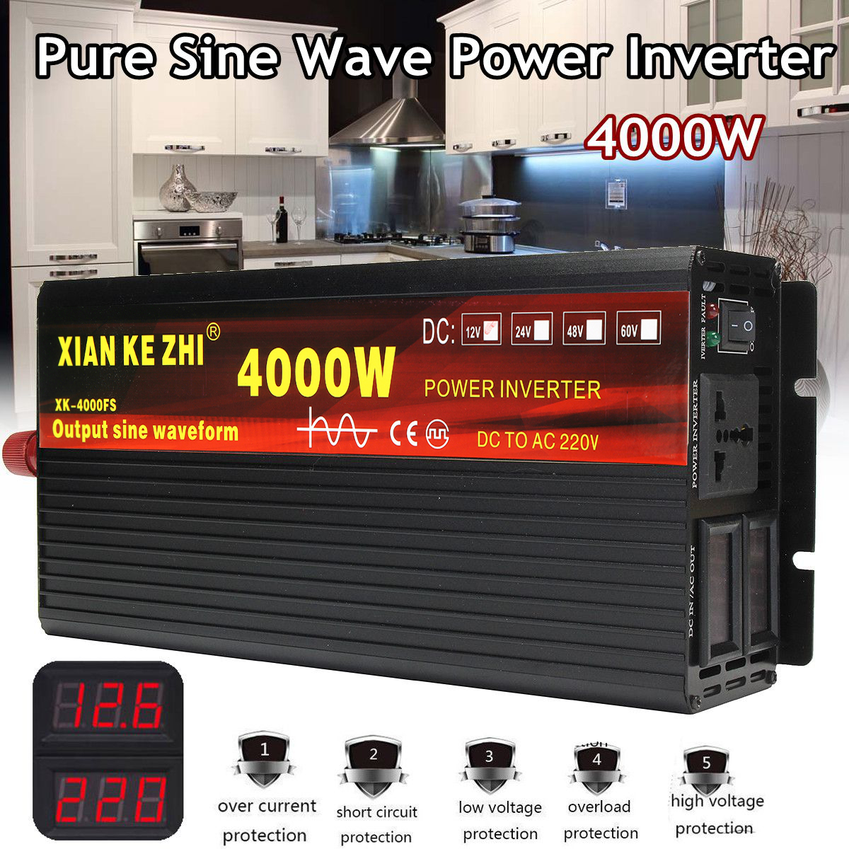 Car Inverter 12V/24V 220V 3000/4000W Voltage transformer Pure Sine Wave Power Inverter DC12V to AC 220V Converter+2 LED Display(China)