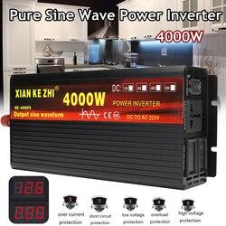 Inversor de coche 12V/24V 220V 3000/4000W transformador de voltaje inversor de potencia de onda sinusoidal DC12V a AC 220V convertidor + 2 pantalla LED