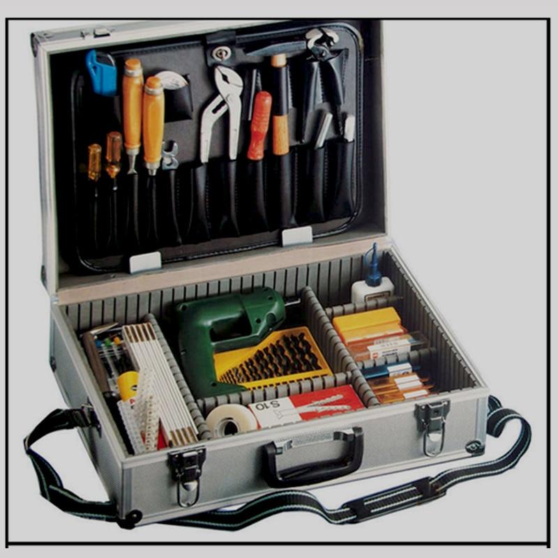 Didelis aliuminio įrankių dėžutė, sidabrinis aliuminio dėklas, įrankių rinkinys, metalinis, įrankių dėžė