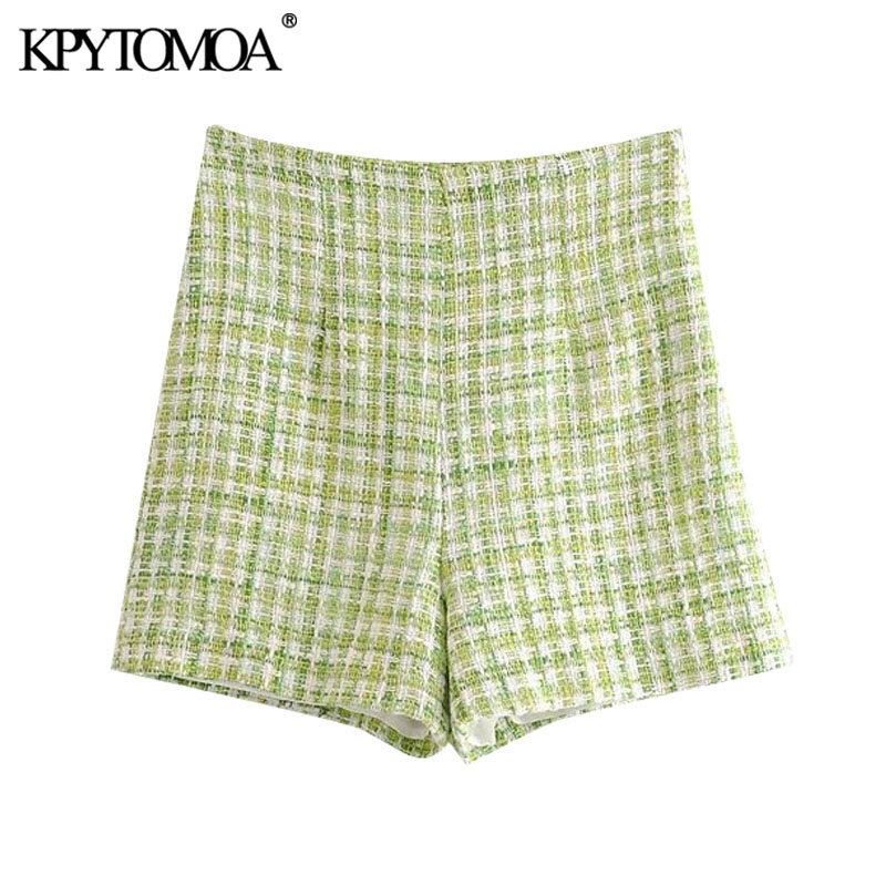 KPYTOMOA Women 2020 Fashion Plaid Tweed Shorts Vintage High Waist Side Zipper Female Short Pants Pantalones Cortos