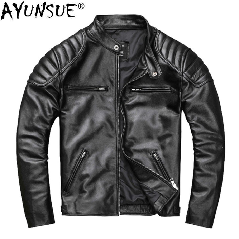 AYUNSUE Mens Leather Jacket Real Cowhide Coat Spring Autumn Genuine Leather Jackets for Men 2020 Chaqueta Cuero Hombre KJ2906