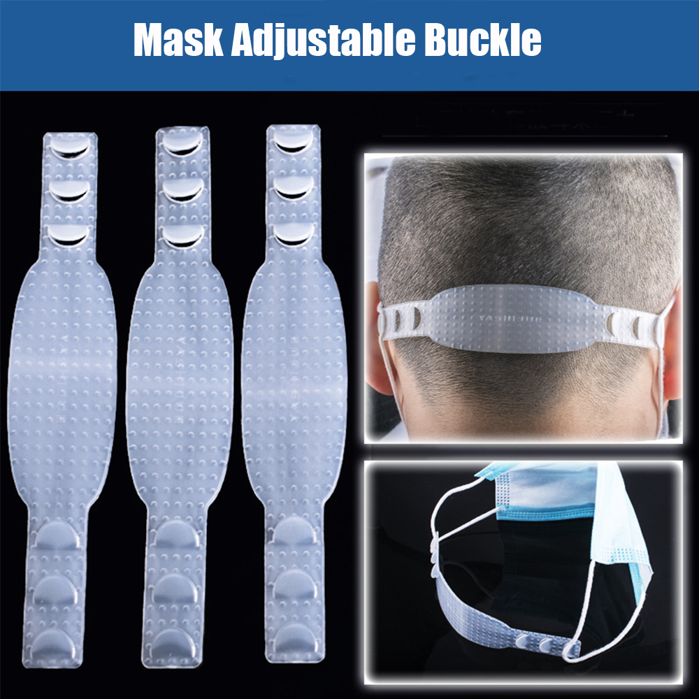 2Pcs Transparent Non Slip Fixing Buckle Face Mask Ear Hooks Adjustable Levels Band Extension Mask Accessories