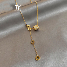 2020 new luxury titanium steel color fast Necklace Design feeling Roman digital pendant neck chain sexy girl neck chain jewelry