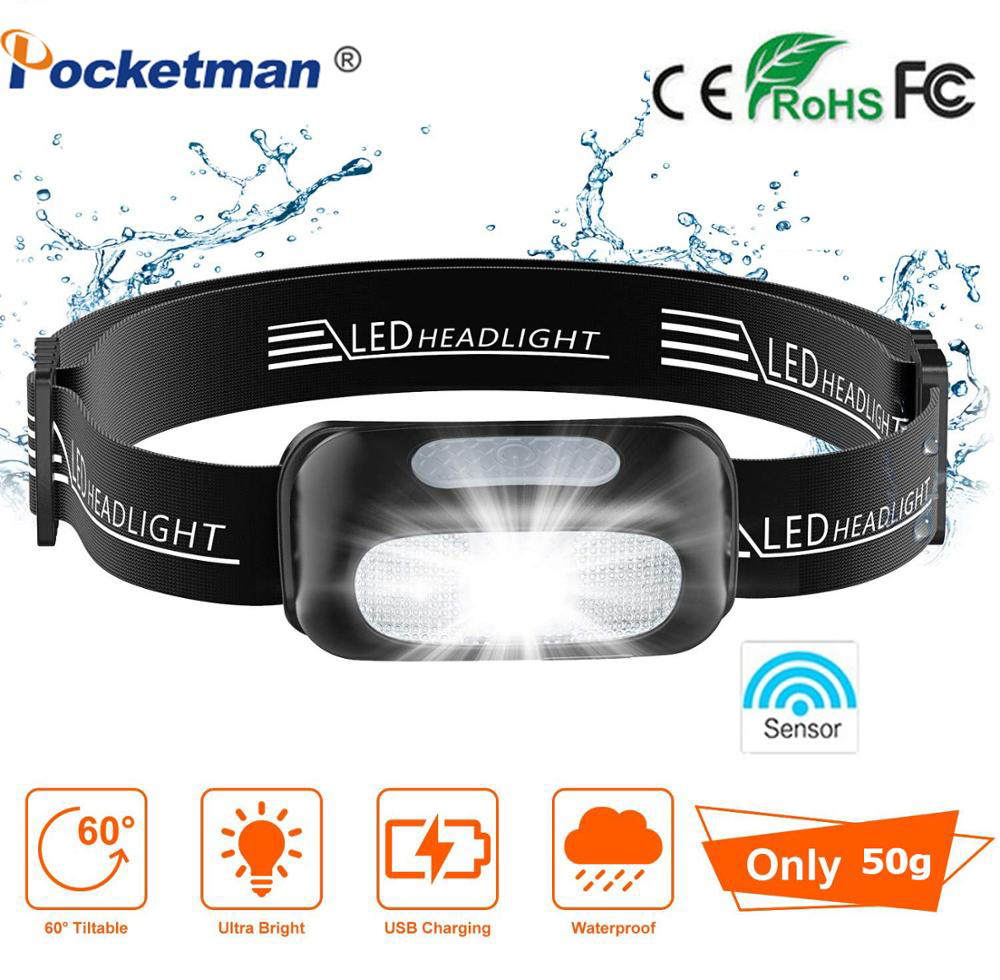 8000Lm Mini LED Headlamp Headlight Rechargeable Head Lamp 5 Modes Waterproof With Battery Built In And USB For Running Hungting