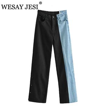 WESAY JESI spodnie dla kobiet Patchwork proste dżinsy damskie wysokiej talii dżinsy dla dziewczynek dorywczo myte damskie modne spodnie tanie i dobre opinie COTTON Poliester Pełnej długości CN (pochodzenie) Osób w wieku 18-35 lat NZA0434 JEANS WOMEN Na co dzień Zmiękczania