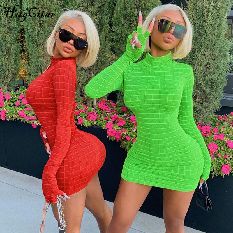Hugcitar 2019 Long Sleeve With Gloves Sexy Mini Dress Autumn Winter Women Plaid High Neck Party Club Streetwear Dresses