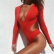 Sexy Swimwear Monokini Bikini 2019 Long Sleeve One Piece Bathing Suit Women Swimsuit Trikini Cut Out Surfing Swim Suit Mayokini недорого