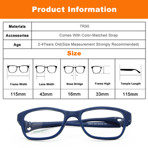 Image 5 - Monture de lunettes pour garçons et garçons, avec sangle, Flexible, pliable, sans vis, sécuritaire, optique, une pièce, 43/16