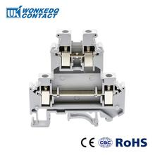 10Pcs Din Rail Terminal Blocks UKK5  Connector Double Layer Terminal Blocks Screw Electrical Wiring UKK-5 ptf14a e 14 screw terminal relay socket base din rail for hh64p y4nj
