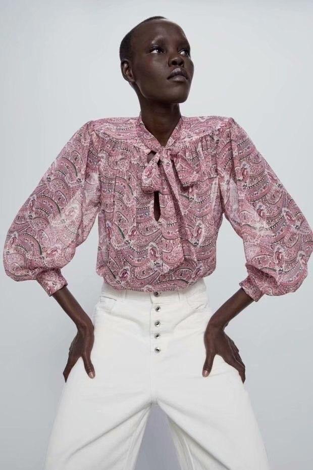 2020 New Spring Summer New Style European Print Female Blouse Shirt Zaraing Vadiming Sheining Women Blouse Shirt