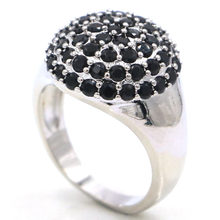 16x16mm Elegant Created Black Sapphire White Cubic Zirconia Gift Ladies Silver Ring(China)