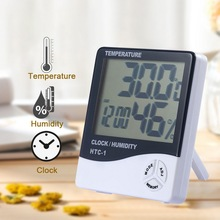 New LCD Digital Temperature Humidity Meter HTC-1 HTC-2 Indoor Outdoor Hygrometer Thermometer Weather Station with Clock купить недорого в Москве