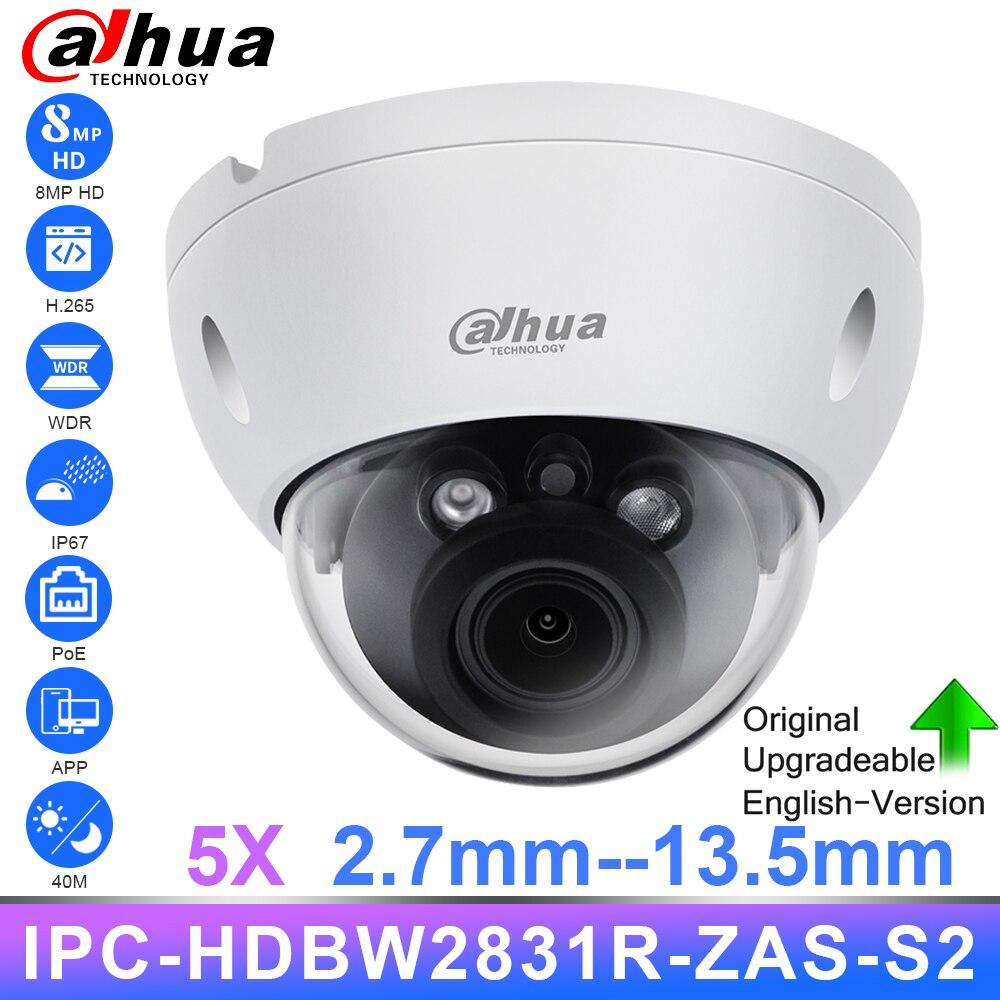 Dahua Original ZOOM 2.7-13.5mm caméra IP 8MP 4K IPC-HDBW2831R-ZAS-S2 IR40m H.265 IP67 IK10 anti-vandalisme Webcam alarme carte SD IVS