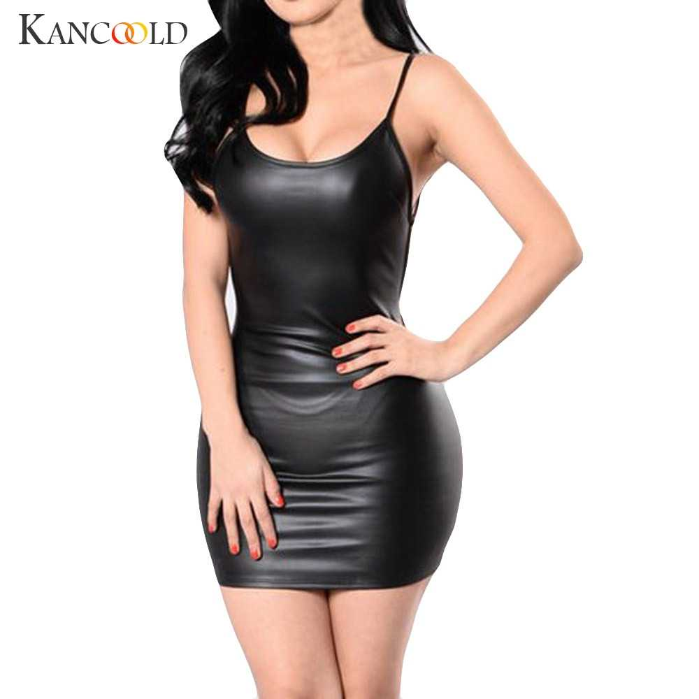 Kancoold 2019 Sexy Backless Club Party Korte Jurk Solid Black Wetlook Latex Bodycon Faux Lederen Push Up Bh Mini micro Jurk