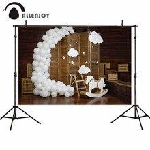 Allenjoy globos de fotófono con puerta de persiana de madera, Fondo de estudio de fotografía para fiesta de bienvenida de cumpleaños de bebé, pastel de aplastar
