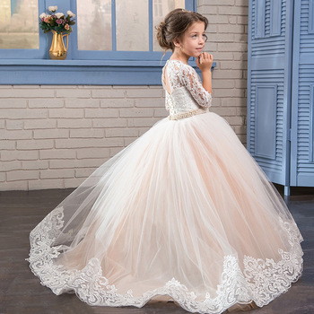 2020 New Lace Embroidery Flower Girls Dress for Wedding First Communion Birthday Party Prom Ball Gown Pageant Dresses with Belt