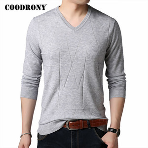 COODRONY Brand Sweater Men Spring Autumn V-Neck Pull Homme Soft Knitwear Cotton Wool Pullover Men Pure Color Mens Sweaters C1043