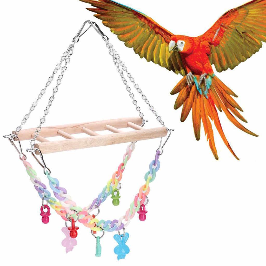 Игрушки для домашних птиц для клетки деревянная лестница окуня стоящая с яркие игрушки для птиц #31/7