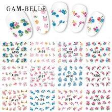 12 шт набор цветочных наклеек для ногтей