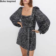 BOHO INSPIRED sequined party dress long sleeve square neck winter women mini chic sexy 2019 new vestidos