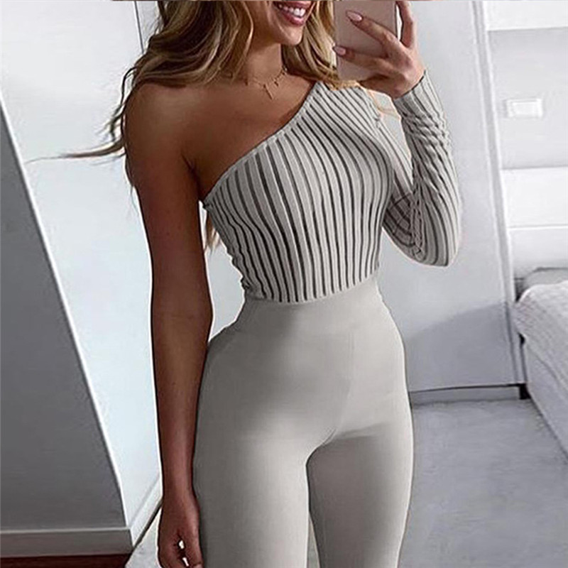 Sexy One-shoulder Rib Knit Jumpsuit Women Rompers Spring Long Sleeve Elegant Jumpsuit Backless Solid Fashionable Skinny Bodysuit