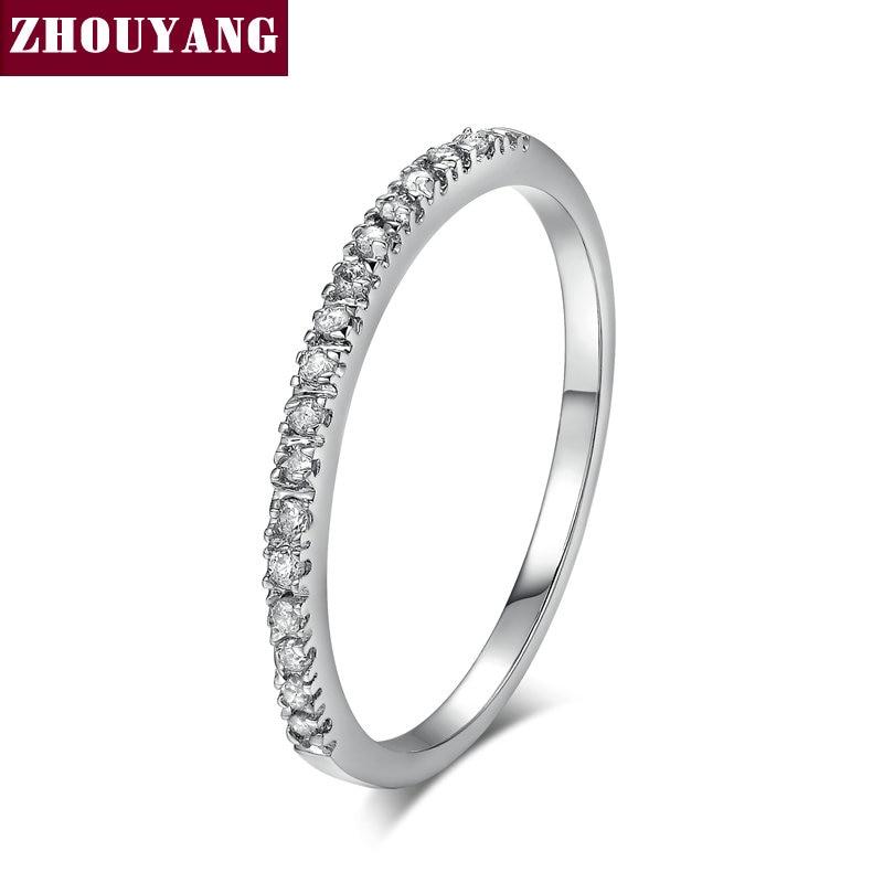 ZHOUYANG обручальное кольцо для женщин и мужчин лаконичное классическое многоцветное мини кубическое циркониевое розовое золото цвет подарок модное ювелирное изделие R251 - Цвет основного камня: R133