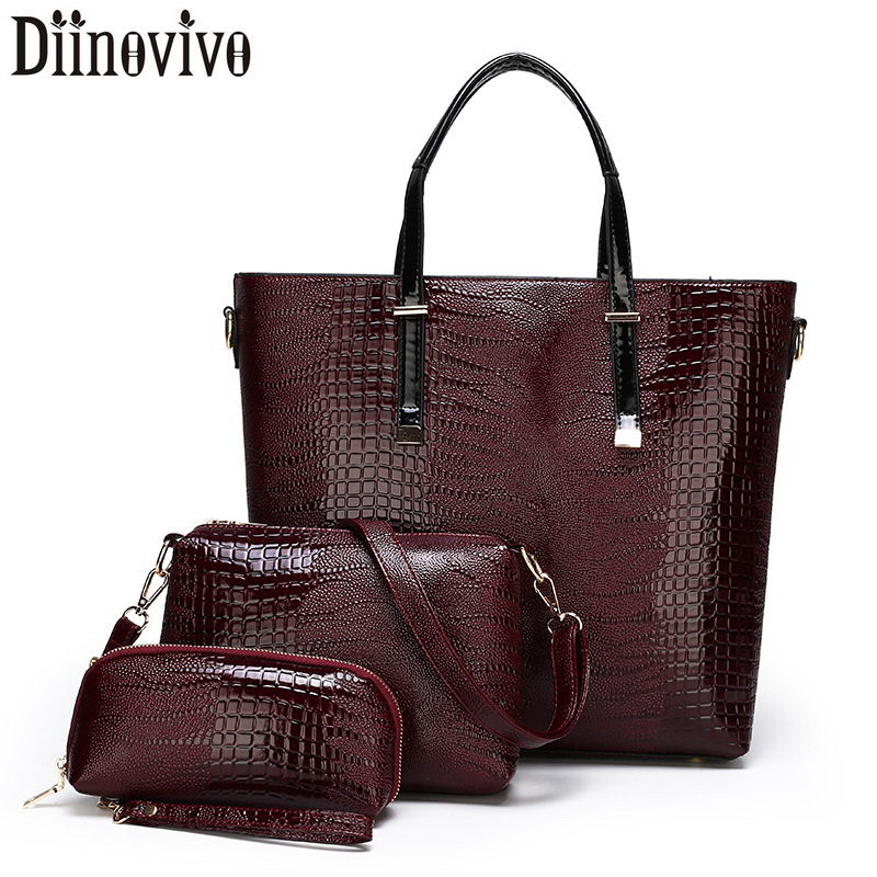 DIINOVIVO Luxury Handbags Women Composite Bag Oil Skin PU Leather Shoulder Crossbody Bags For Tote 3 Set WHDV1229