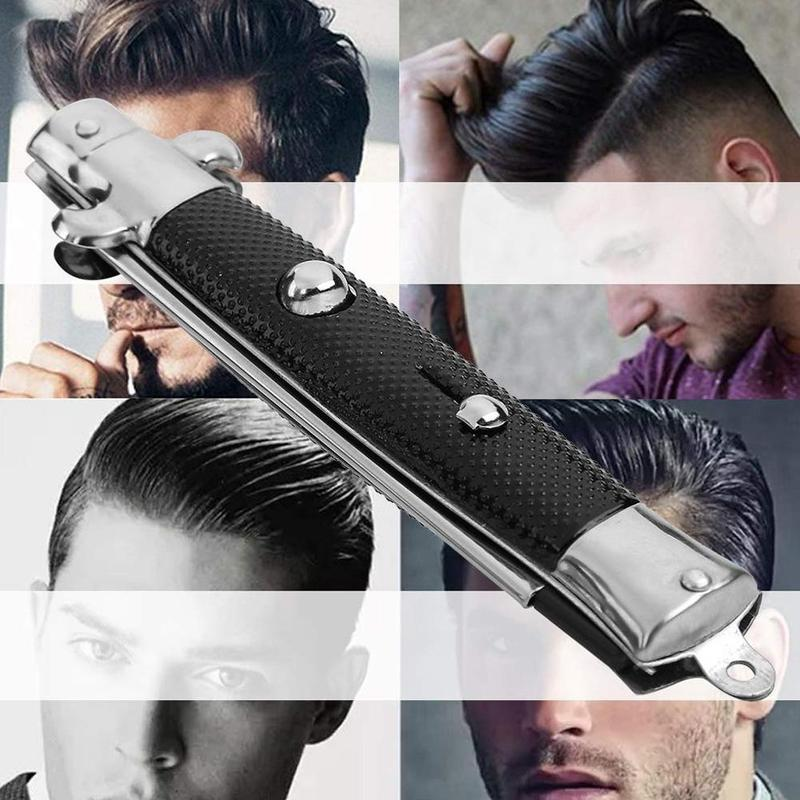 Automatic Folding Knife Comb For Men Hair Trimmer Butterfly Men's Pocket Comb Stainless Steel Spring Jump Brush Styling Tools