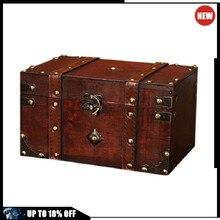 Retro tesouro caixa de armazenamento de madeira do vintage estilo antigo jóias organizador para jóias trinket casa caixa máscara alta qualidade