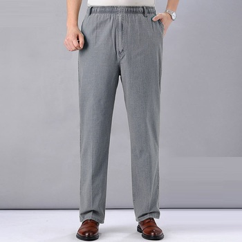 Men s High Waist Trausers Summer Pants Clothing Novelty 2020 Linen Loose Cotton Elastic Band