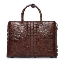 YILUNXI High-end męskie teczki z prawdziwej skóry torby męskie biznes elite mężczyźni teczki moda casual teczki tanie tanio Crocodile NONE Pojedyncze Odpinany 6 5cm 38cm 27 5cm zipper Stałe 14 cali LX-FM0546