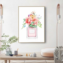 Perfume COCO Peony Flower Wall Art Canvas Painting Nordic Posters And Prints Watercolor Pictures For Living Room Decor