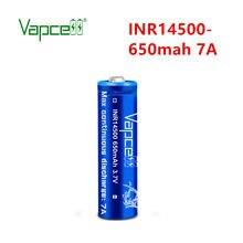 Frete grátis 1usd cupom alta potência botão vapcell topo inr14500 650mah 7a 3.7 v li-ion bateria recarregável para lanternas