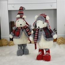 2 unids/lote Feliz Navidad Año nuevo regalo de cumpleaños lindo oso de peluche muñeca de la decoración de la Navidad de la Oficina para el hogar peluche Juguetes