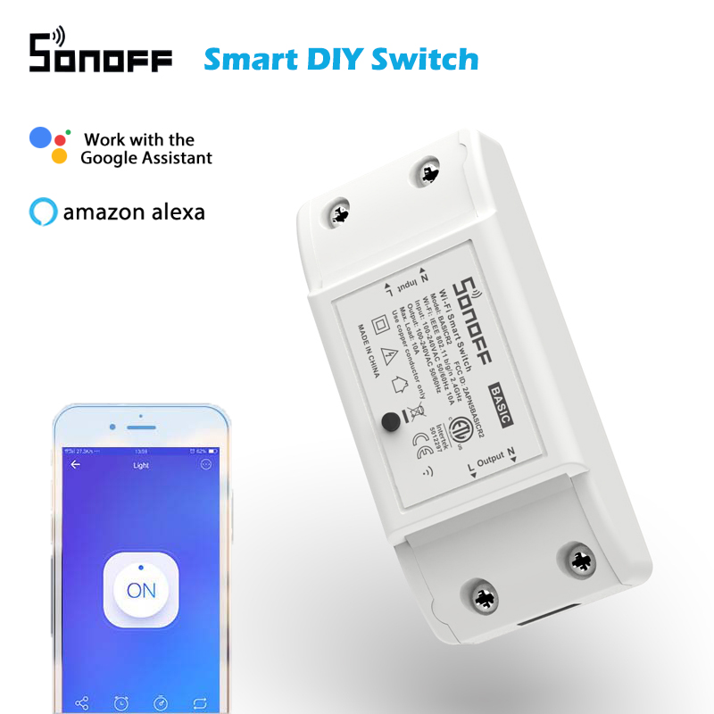 SONOFF BasicR2 Wireless Wifi Timer Mini Smart DIY Switch,Support eWelink Home Automation Alexa Google Home Voice Remote Control
